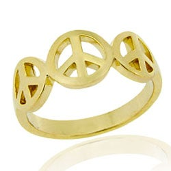 Mondevio 18k Gold over Sterling Silver Peace Sign Ring