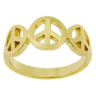 Mondevio 18k Gold over Sterling Silver Peace Sign Ring (4 options available)