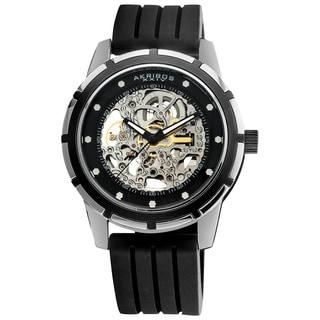 Akribos XXIV Men's Delos Skeleton Black Automatic Silver-Tone Watch