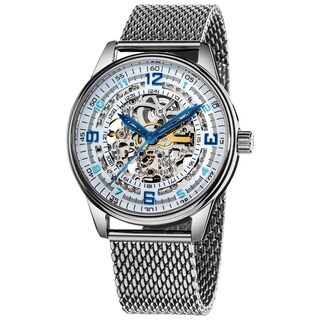 Akribos XXIV 'Saturnos Elite' Men's Stainless-Steel Skeleton Automatic Watch