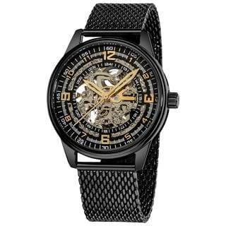 Akribos XXIV 'Saturnos Elite' Men's Stainless-Steel Skeleton Automatic Watch (Option: Black)
