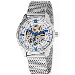 Akribos XXIV 'Saturnos Elite' Men's Skeleton Automatic Silver-Tone Bracelet Watch