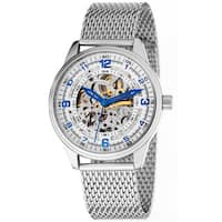 Akribos XXIV 'Saturnos Elite' Men's Skeleton Automatic Silver-Tone Bracelet Watch