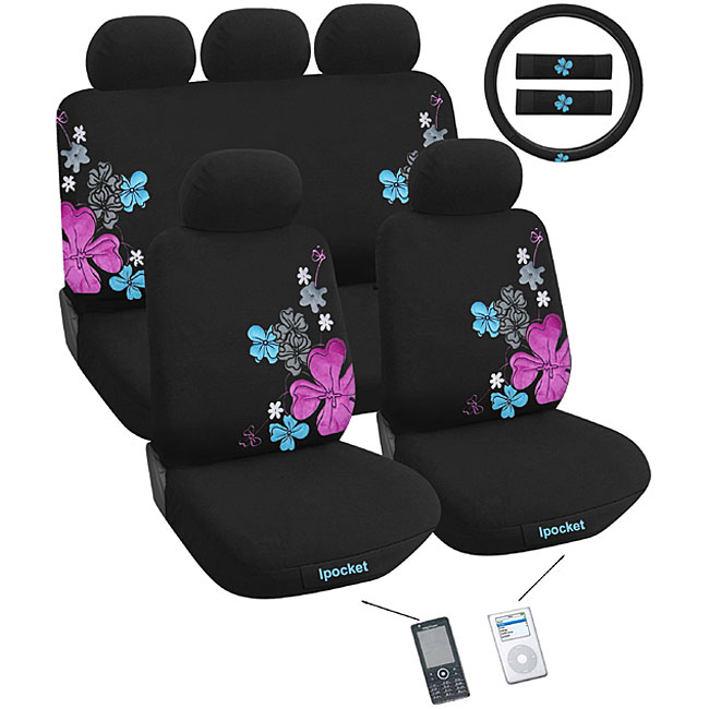 suede flower 12 piece airbag friendly universal fit seat cover set free shipping today. Black Bedroom Furniture Sets. Home Design Ideas