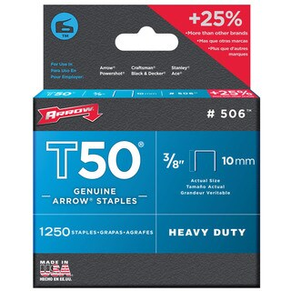 Arrow Fasteners T50 10 mm 172634 tra706t Staples (Pack of 1250)