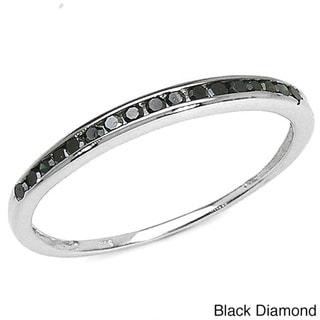 Malaika Sterling Silver 1/5ct TDW Black or Blue Diamond Ring
