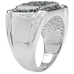 Malaika Sterling Silver 3/4ct TDW Blue Diamond Cocktail Ring (I2-I3)