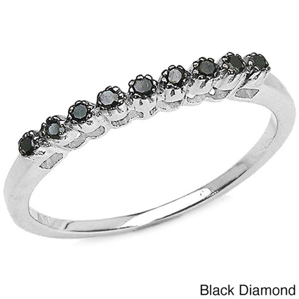 Malaika Sterling Silver 1/10ct TDW Black or Blue Diamond Ring