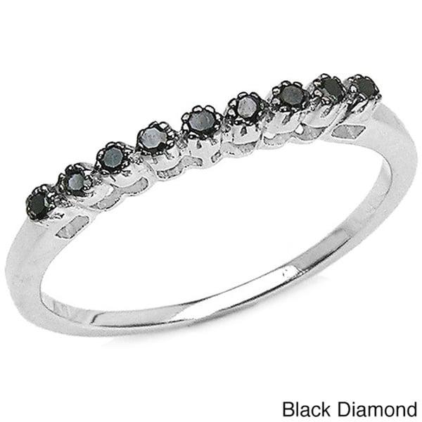 Malaika Sterling Silver 1/10ct TDW Black or Blue Diamond Ring