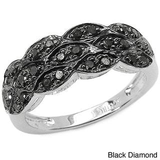 Malaika Sterling Silver 1/3ct TDW Black or Blue Color Diamond Ring