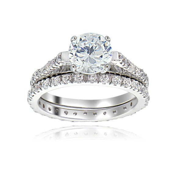 icz stonez sterling silver gold over sterling silver cubic zirconia engagement ring set - Cubic Zirconia Wedding Rings