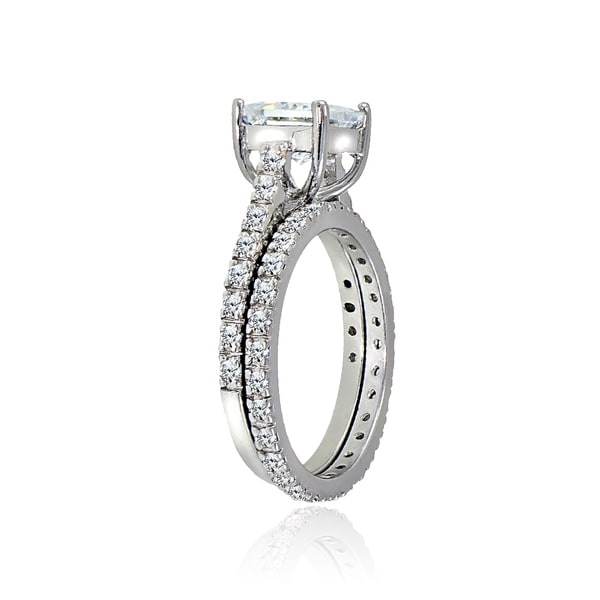 3 Princess Cut cubic Zirconia Wedding Set .925 Sterling Silver Ring SIZES 4-12