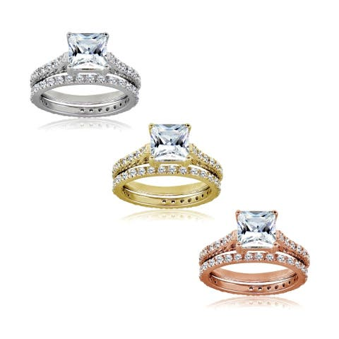 Icz Stonez Princess-cut Cubic Zirconia Silver, Gold & Rose Gold 925 Silver Bridal-style Ring Set
