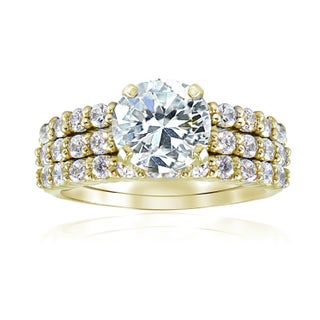 Icz Stonez Sterling Silver Round CZ Bridal-inspired Ring Set (More options available)