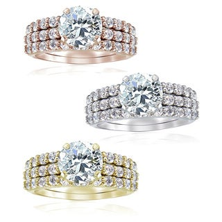 Icz Stonez Sterling Silver Round CZ Bridal-inspired Ring Set