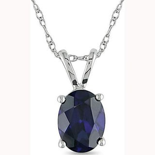 Miadora 10k White Gold Created Sapphire Necklace