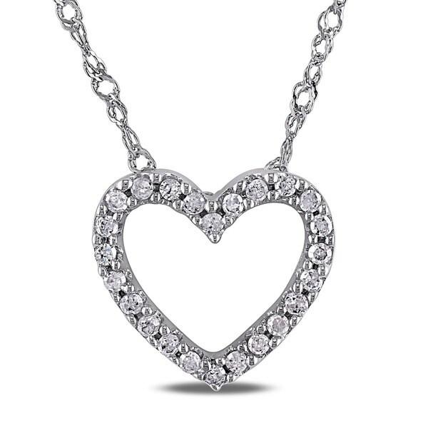 Miadora 14k White Gold 1/10ct TDW Diamond Heart Necklace