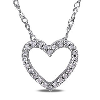 Miadora 14k White Gold 1/10ct TDW Diamond Heart Necklace