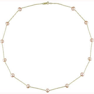 Miadora 14k Yellow Gold Pink Cultured Freshwater Pearl Tin-cup Necklace (5-6mm)