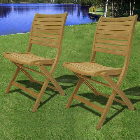 Tottenville Teak Folding Patio Chairs (Set of 2) by Havenside Home