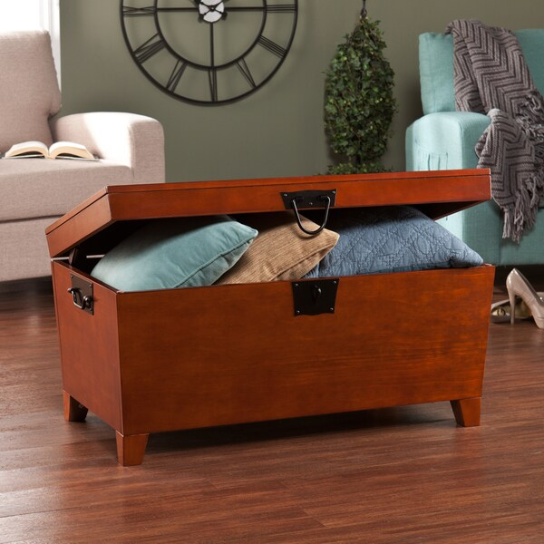 Harper Blvd Pyramid Trunk Oak Cocktail Table   Free Shipping Today    Overstock.com   12078756