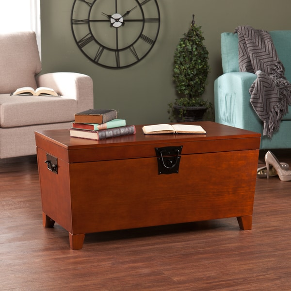 Harper blvd pyramid trunk oak cocktail table free for Overstock trunk coffee table