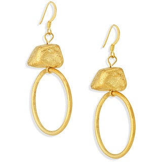 NEXTE Jewelry 18k Gold Overlay 'Circle and Nugget' Earrings