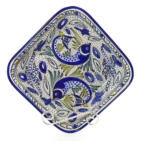 Aqua Fish 12-inch Square Serving Bowl (Tunisia)