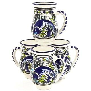 Set of 4 Aque Fish 16-oz Large Mugs (Tunisia)