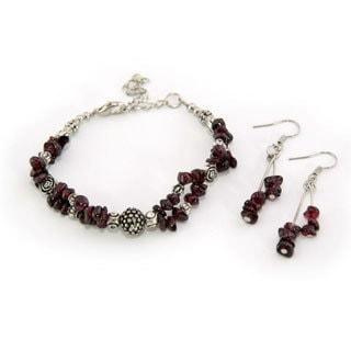 Tibetan Silver Garnet Bracelet and Earrings Set (China)