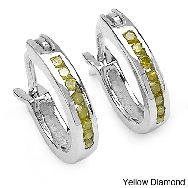 Malaika Sterling Silver 1/6ct Blue or Yellow Diamond Hoop Earrings