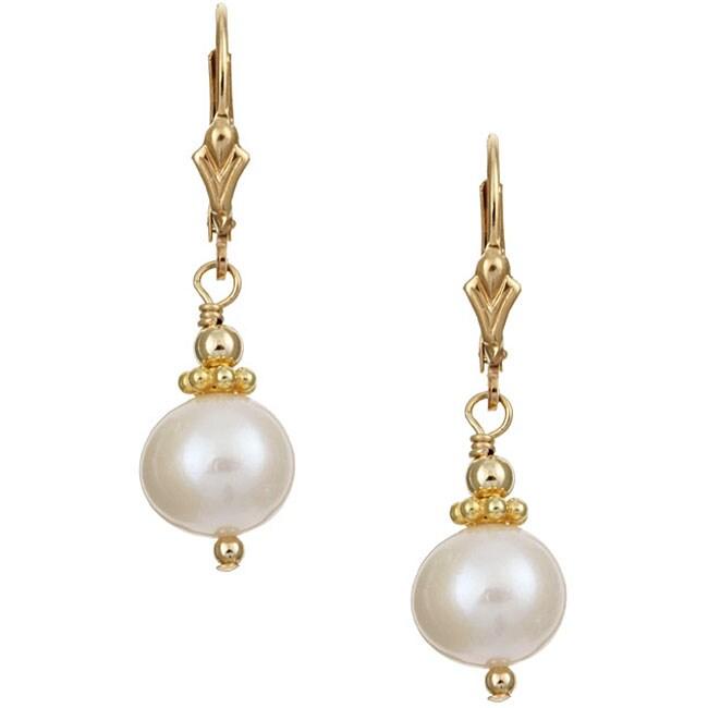 Lola's Jewelry 14k Goldfill White FW Pearl Earrings (7-8 mm)