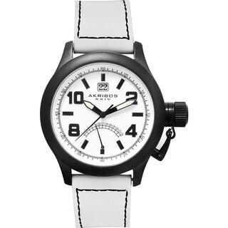 Akribos XXIV 'Scouter' Men's Quartz Canteen Top Crown White Watch