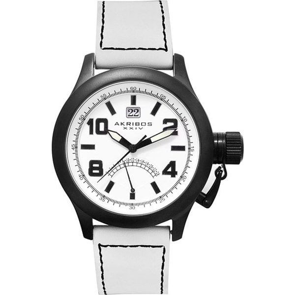 Akribos XXIV 'Scouter' Men's Quartz Canteen Top Crown White Watch