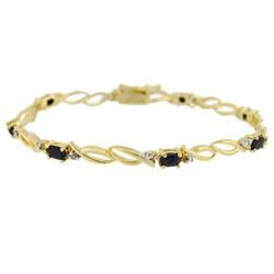 Glitzy Rocks 18k Gold over Silver Sapphire and Diamond Accent Bracelet