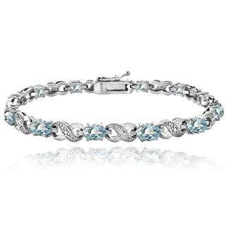 Glitzy Rocks 18k Gold over Silver Blue Topaz and Diamond XOXO Bracelet (3 options available)