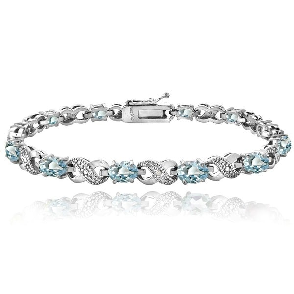 Glitzy Rocks 18k Gold over Silver Blue Topaz and Diamond XOXO Bracelet