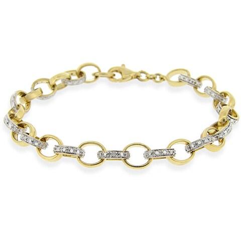 DB Designs 18k Gold over Sterling Silver Diamond Accent Rolo Link Bracelet