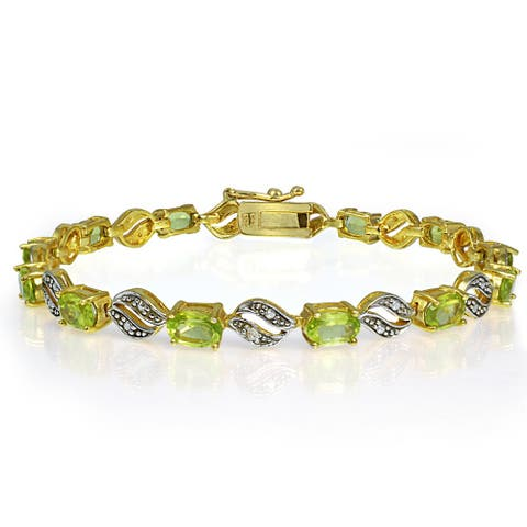 Glitzy Rocks 18k Gold over Silver Peridot/ Diamond Bracelet