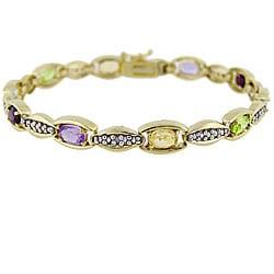 Glitzy Rocks 18k Gold over Silver Multi-gemstone and Diamond Bracelet