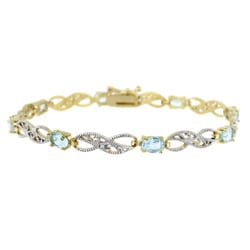 Glitzy Rocks 18k Gold over Silver Blue Topaz and Diamond Accent Bracelet