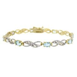 Glitzy Rocks 18k Gold over Silver Blue Topaz and Diamond Accent Bracelet