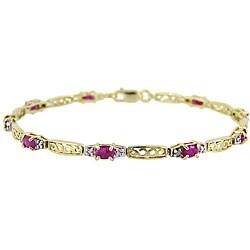 Glitzy Rocks 18k Gold over Silver Ruby and Diamond Accent Bracelet