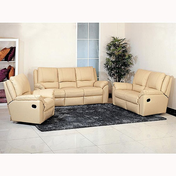 Awesome Destiny Cream Leather Reclining Sofa, Loveseat, And Chair