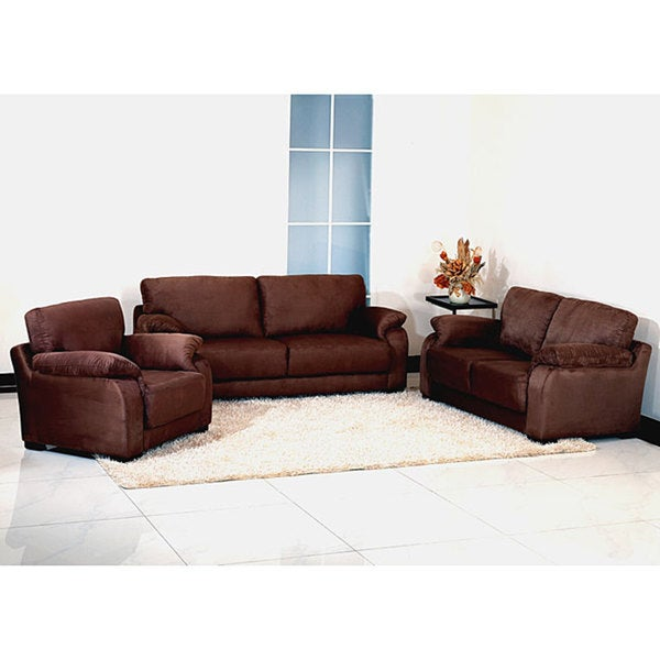 Incroyable Westbrook Dark Brown Microsuede Sofa, Loveseat, And Chair