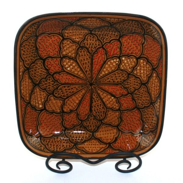 Honey Design 12-inch Square Serving Bowl (Tunisia)