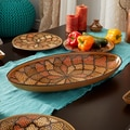 Handmade Extra Large 21-inch Honey Design Oval Platter (Tunisia)