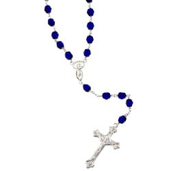 Sterling Essentials Sterling Silver Cobalt Blue Czech Glass Rosary Necklace