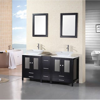 Belvedere Modern 60 Inch Double Vessel Bathroom Vanity With Stone Top Free Shipping Today