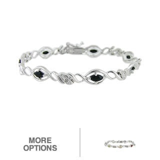 Glitzy Rocks Sterling Silver Sapphire and Diamond Accent Bracelet
